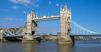 Tower Bridge crossing the Thames, London.
