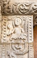 Detalle del pórtico del Santuario románico de Nuestra Señora de Estíbaliz. Argandoña. Vitoria. Ã. lava. País Vasco. España.