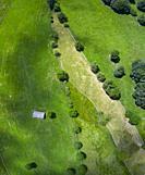 Landscape from a drone in Portillo de la Sia. Meadows, huts and beech forests. The Merindades. Burgos province. Community of Castilla y León. Spain, E...