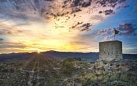 Sunset. Medieval watchtower. Riba-roja d'Ebre, Tarragona, Catalonia.