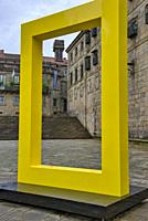 National Geographic logo in the Plaza de la Quintana in Santiago de Compostela, Galicia.