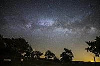 Milky way on the Gudar mountains starlight spot in Teruel Spain.