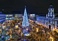 View of the Puerta del Sol in Madrid with the Christmas tree.