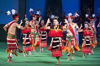 Manipur dancers performing a Kabai Naga dance in 'Colours of NE India' at the Sangai Festival, Imphal, India.