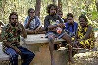Gagadju aboriginal family, East Alligator River, Northern Territory, Australia.