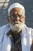 People of Alexandria, Egypt: an elderly man outside a mosque.