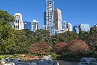 CBD skyline from Treasury Gardens, Melbourne, Australia.
