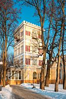 Gomel, Belarus. Rumyantsev-paskevich Palace In Snowy City Park. Winter Season. Sunny Winter Day.