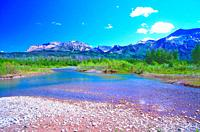 River landscape, Waterton River, mountains, Waterton Lakes National Park, Province of Alberta, Canada