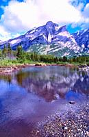 River landscape, Kananaskis River, reflections, Mount Kidd, coniferous forest, Kananaskis country, Province of Alberta, Canada