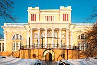 Gomel, Belarus. Rumyantsev-paskevich Palace In Snowy City Park. Winter Season. Sunny Winter Day.