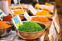 Canacona, Goa, India. Close View Of Coconut Green Masala, Bright Green Color Fragrant Seasoning, Condiment In Tray On Local Food Market, Bazaar.