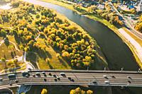 Mahiliou, Belarus. Aerial View Of Bridge over the Dnieper river In Mogilev. Aerial View Of Skyline In Autumn Day. Bird's-eye View.
