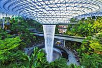 Jewel indoor waterfall at Changi Airport, Singapore, Republic of Singapore.