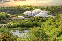 View over the Eden Project compound in Cornwall, England, UK.