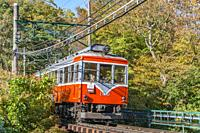 Train of Hakone Tozan Railway near Gora, Japan.