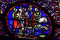 Stained glass window in Sainte Chapelle,Paris,France.