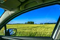 Lidkoping, Sweden The medieval Lacko Castle on the southern shore of Lake Vanern and wheat fields, through a car window.