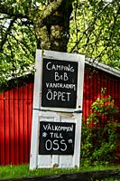 Lacko Strand, Sweden A sign in Swedish for a camping and Bed and Breakfast.