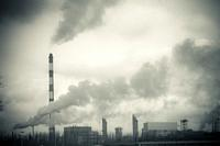 dirty smoke and pollution produced by chemical factory.