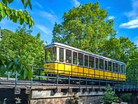 The funicular railway on the height of Rietschelweg in Loschwitz, Dresden, Saxony, Germany.