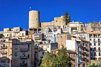 Salemi town located in the province of Trapani in southwestern Sicily, Italy, view with tower and walls of Norman Castle.