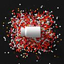 3d render of medicine pills and bottle with cap. Abstract medical illustration. . .