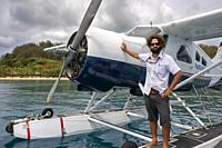 Pacific Island Air flight company in Fiji. Boat plane off West coast of Viti Levu, Fiji, Pacific Islands, Pacific.