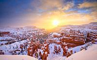 Sunrise after snow storm at Bryce Canyon National park, Utah, USA.