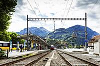 Interlaken West station, Interlaken, Switzerland, Europe.