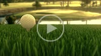 Golf ball on a golf course in early evening. 4K UHD animated 3D video.