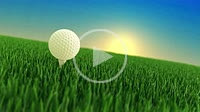 Close-up of a golf ball on golf course at sunrise. 4K UHD animated video.