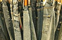 Different types of jeans at a nearby store.