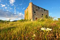 Scenic landscape of a medieval tower at sunset. High quality photo.