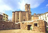 Santa Maria la Real church. Plaza de Navarra, Najera, La Rioja, Spain.