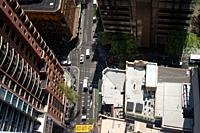 Sydney, New South Wales, Australia - View from above of a road junction with street traffic in the city centre.