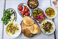 Set of traditional Lebanese food in restaurant in Beirut, Lebanon.