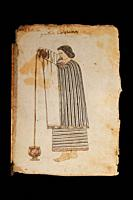 Nahua noblewoman preparing a chocolate drink. Codex Tudela, 16th-century pictorial Aztec codex. Museum of the Americas, Madrid, Spain.