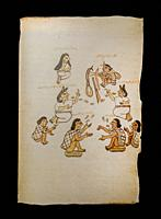 Marriage proposal by a young Tlapaneca with his work tools. Codex Tudela, 16th-century pictorial Aztec codex. Folio. Museum of the Americas, Madrid, S...