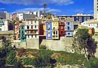 Colorful facades of houses. Villajoyosa, Alicante province, Comunidad Valenciana, Spain.