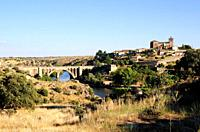 Ledesma and Tormes River. Salamanca province, Castilla y Leon, Spain.