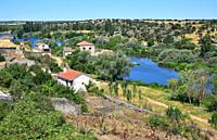 Tormes River on Ledesma. Salamanca province, Castilla y Leon, Spain.