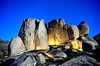 Big rocks at night, Bustarviejo, Madrid, Spain.