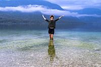 Girl, Lake Bohinj, Municipality of Bohinj, Triglav National Park, Slovenia.
