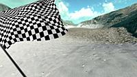 . Large Checkered Flag with fabric surface texture with landscape background.