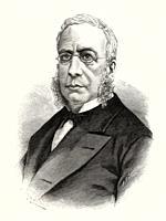 Portrait of Vicente de la Fuente y Bueno (Calatayud 1817 - Madrid 1889) 19th century researcher, canonist, jurisconsult and Spanish historian, Spain. ...