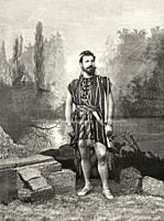 Portrait of the Spanish opera singer Sebastián Julian Gayarre (Roncal 1844 - Madrid 1890) Spanish tenor of the 19th century, Spain. Old XIX century en...