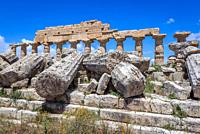 Ruins of Temple C - Apollo Temple in The Acropolis of Selinunte ancient Greek city on the south western coast of Sicily in Italy.
