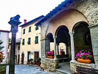 La Piccola Loggia in front of Palazzo dei Capitani della Montagna, XV Century, where Il Capitano amministered the local justice, Cutigliano, , Pistoia...