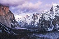 Clearing winter storm over Yosemite Valley, Yosemite National Park, California USA.